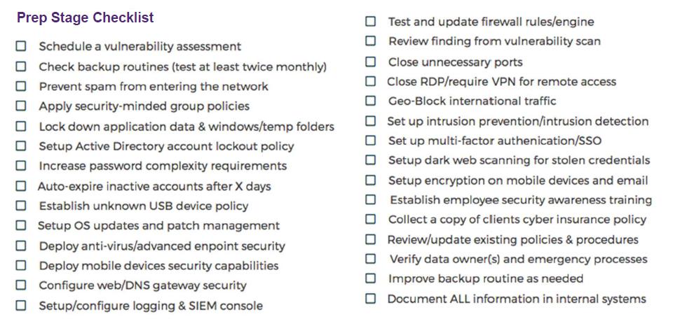 security stack preparation checklist